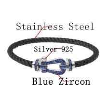 Fred Silver 925 Bracelet Black Stainless Steel Rope Charm Bracelet With Blue Zircon For Man