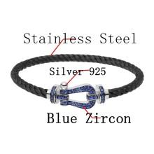 Fred серебро 925 браслет черный нержавеющей стали веревку браслет с Голубой циркон для человека