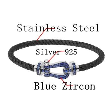 Fred Silber 925 Armband schwarz Edelstahl Seil Bettelarmband mit Blauer Zirkon für Mann