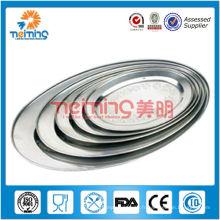 Plat ovale en acier inoxydable de 5 pcs