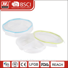 3 compartment microwavable food container with lid