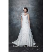 Vente en gros élégant A-ligne sweetheart une épaule robe de mariée en dentelle avec manches longues mariage robe de mariée AS284