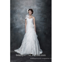 Wholesale Elegant A-line Sweetheart one shoulder Lace wedding gown with Long Sleeves wedding Bridal dress AS284