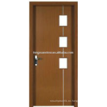 Puerta del baño del dormitorio del tocador del PVC de WPC con el diseño de cristal, diseño simple de la puerta