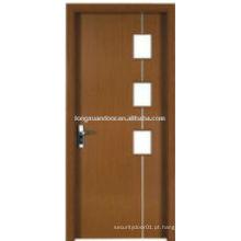 WPC PVC WC quarto banheiro porta com design de vidro, design de porta simples