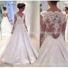 2016 Custom Made Cover Back Satin Appliques Long Sleeve Alibaba Wedding Dress