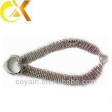Novo design de aço inoxidável malha colar com pingente charme coração para senhora