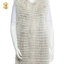 Le plus récent Custom Real Raccoon Women Fur Vest Long Style Knitted Raccoon Fur Gilets