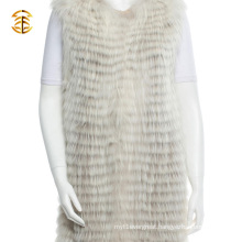 Newest Custom Real Raccoon Women Fur Vest Long Style Knitted Raccoon Fur Gilets