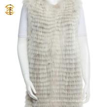 Mais novo Custom Real Raccoon Mulheres Fur Vest Long Style Knitted Raccoon Fur Gilets