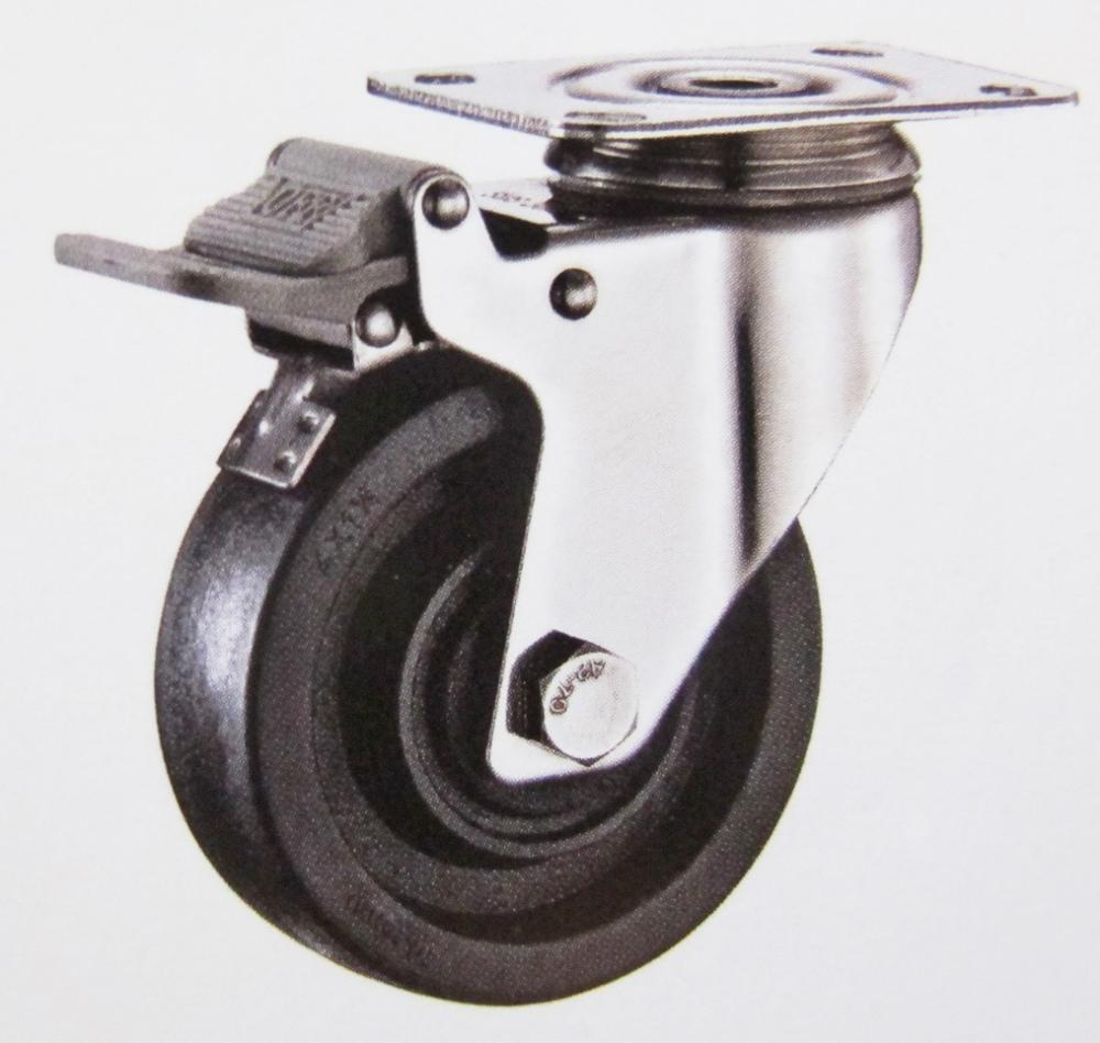 220 High Termperature Swivel Brake Caster Wheel Stainless Steel Bracket