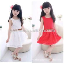 Cheap!!! Sweet white round neck sleeveless party lace dress children cute flower girl dress