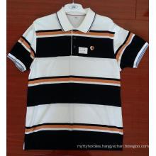 Cotton Yarn Dyed Engineering Stripe Polo Shirts