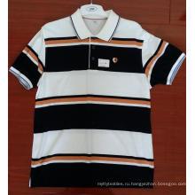 Окрашенные в хлопковую пряжу рубашки-поло с инженерными полосками