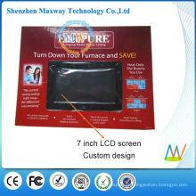 caixa de exposição do cartão do modelo com a tela do LCD de 7 polegadas