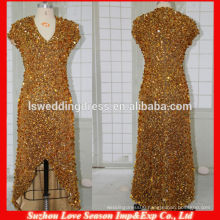 HE445 2014 Golden Sequins Zipper Back Floor Length in turkey Pattern Cheap Price Made In China Evening Dress