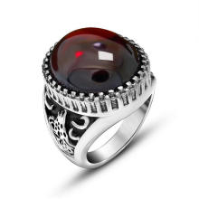 Agate Men′s Rings 316L Stainless Steel Fashion Jewellery Black & Red