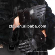 Neueste edle Lederhandschuhe Nerzfellmanschette