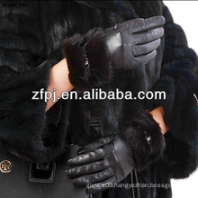 Newest Noble leather gloves mink fur cuff