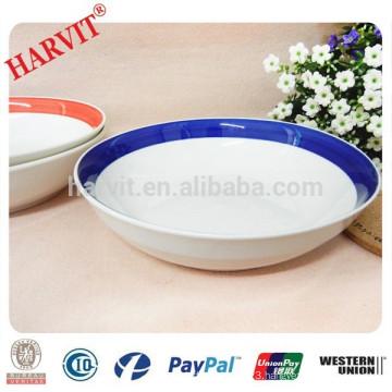 Color Rim Edge Hand Painted Ceramic Shallow Bowl