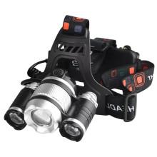 Lampe frontale puissante rechargeable à zoom réglable
