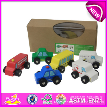 Voiture en bois colorée de jouet pour des enfants, jouet fait main de voiture d'enfants d'araignée, vente chaude Mini voiture en bois en bois réglé pour bébé W04A083