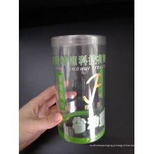 Caixa de cilindro de plástico impressa por encomenda (caixa redonda transparente)