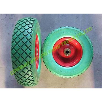 flat free PU foamed wheel 4.00-8 with metal rim