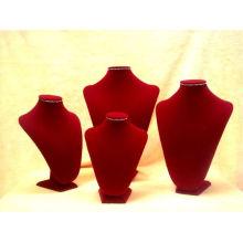Buste de collier de bijoux en velours rouge en bois (série NS-RV-F)