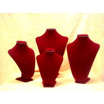 Деревянные Красный бархат ювелирные изделия Дисплей Бюст ожерелье (Н-РВ-Е серии)