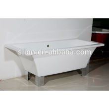 Acrylic solid surface rectangle discount freestanding bathtub with four legs