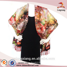 Ladies 2-ply digital printed brushed silk pashmina scarf