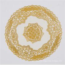20 cm em volta do PVC ouro laço Doily popular uso casa / café