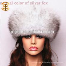 Novo chapéu chinês feminino feito à mão de mulheres de inverno de pele de raposa