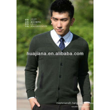 V neck men's 100% cashmere sweater cardigan