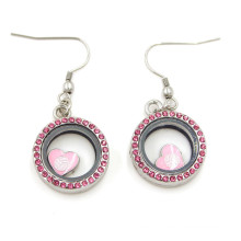 Zinc Alloy Metal Round Locket Drop Jewelry Earrings