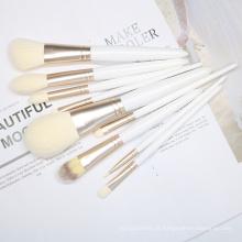 Conjunto de pincel de maquiagem 9pcs branco Costomize Logo