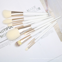 9pcs pinceau de maquillage blanc Set Logo Costomize