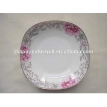 Placas blancas finas de la placa de hueso / placa de cena cuadrada en diversos tamaños