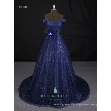 Real sample pictures evening dresses shining blue modern evening dresses for sale
