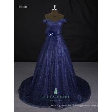 Fotos de amostra reais vestidos de noite brilhantes vestidos de noite modernos azuis à venda