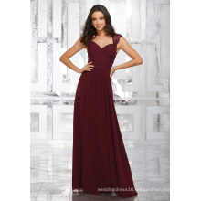 Red Wine Lace Beading A Line Floor Length Bridesmaid Dress