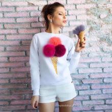 Bonito bola fofa sorvete cone impresso pullover manga longa camisola casual mulheres sem capuz