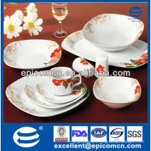 Floral household crockery 40pcs square table dinner set