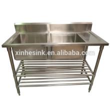 Fregadero de cocina de Australia Catering con mesa de trabajo, cocina Commerical de acero inoxidable 2 Fregadero de dos compartimentos con Drainer