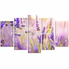 Decoración de la pared Decoración de la pared de la lavanda / pintura púrpura de la pared de la flor / pintura de la lona del flor