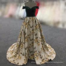 Black Dinner Kleid aus der Schulter Real Sample Alibaba Abendkleid bestickt