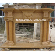 Column Surface Carved Marble Fireplace (SY-MF008)