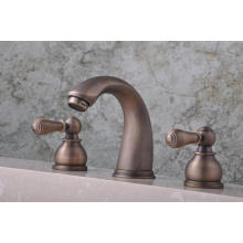"Q30223A Antique Three Levers Hot and Cold 8"" Basin Faucet"