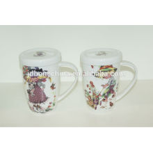 export shape V grade A children baby kids fine royal bone china ceramic beer mug made in Tangshan